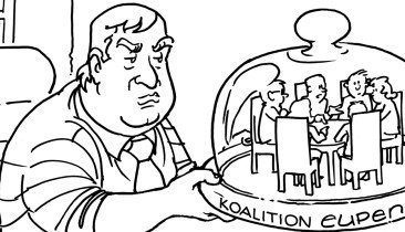Karikatur Käseglocke neu