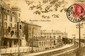 Diese Ansichtskarte zeigt den Herbesthaler Bahnhof ca. 1929.