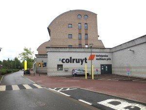 Eine Hinteransicht des Eupen Plaza: Colruyt ist seit der Eröffnung des Einkaufszentrums im April 2000 präsent. Foto: OD.