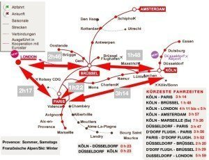 Alle Thalys-Schnellzugverbindungen. (Zum Vergrößern Karte anklicken).