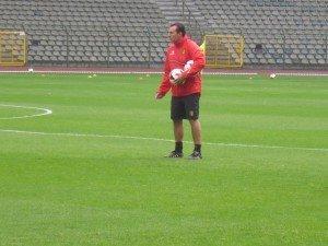 Marc Wilmots am Mittwoch beim Training der Roten Teufel im König-Baudouin-Stadion. Foto: OD
