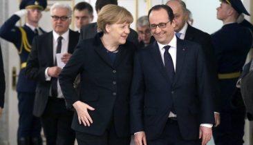 Die deutsche Kanzlerin Angela Merkel mit Frankreichs Staatspräsident François Hollande. Foto: epa