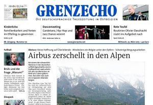 Blick auf den oberen Teil der Grenz-Echo-Titelseite von Mittwoch, 25. März.