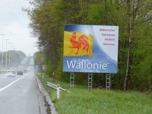 Das Begrüßungsschild der Wallonischen Region an der E40 in Eynatten. Foto: OD