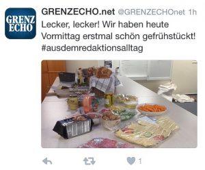 Twitter-Meldung der Grenz-Echo-Redaktion von Freitag, dem 18. Drezember.