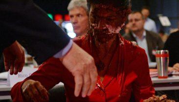 Sahra Wagenknecht nach der Torten-Attacke beim Bundesparteitag der Partei Die Linke in Magdeburg. Foto: dpa