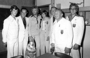 4. August 1976: Edgar-Henri Cüpper (ganz rechts) mit anderen belgischen Medaillengewinnern (u.a. Ivo Van Damme, 3.v.l.) bei der Ankunft auf dem Flughafen Zaventem. Foto: Belga
