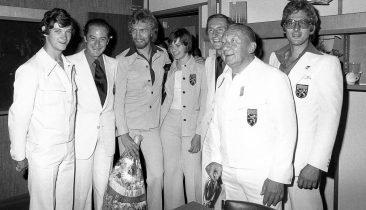 4. August 1976: Edgar-Henri Cuepper (ganz rechts) mit anderen belgischen Medaillengewinnern (u.a. Ivo Van Damme, 3.v.l.) bei der Ankunft auf dem Flughafen Zaventem. Foto: Belga
