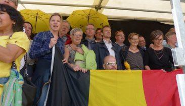 Vertreter von Ecolo-Ostbelgien bei einer Kundgebung gegen Tihange 2 und Doel 3 in Aachen. Foto: OD