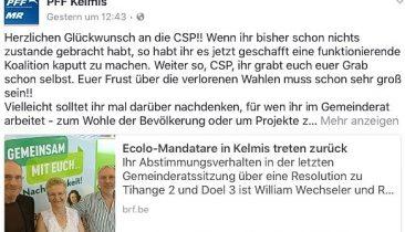Das Posting der Kelmiser PFF-Präsidentin Elke Kessel auf Facebook.