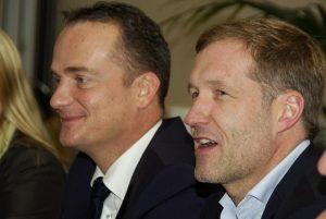 Die Ministerpräsidenten Oliver Paasch (links) und Paul Magnette nach einer gemeinsamen Regierungssitzung von DG und Wallonischer Region in Eupen. Foto: Gerd Comouth